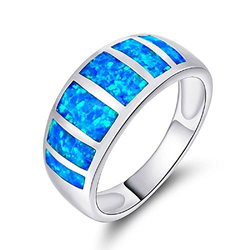 VOLUKA Unisex Couple Rings 18K White Gold Plated Blue Opal Ring Size 7 for Women Men Teen Girl as Promise Engagement Wedding Band