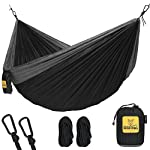 Hammock for Camping Single & Double Hammocks – Top Rated Best Quality Gear For The Outdoors Backpacking Survival or Travel – Portable Lightweight Parachute Nylon DO Black & Grey