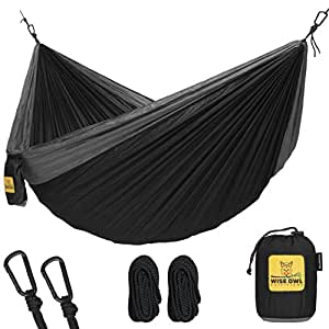 Hammock for Camping Single & Double Hammocks - Top Rated Best Quality Gear For The Outdoors Backpacking Survival or Travel - Portable Lightweight Parachute Nylon DO Black & Grey