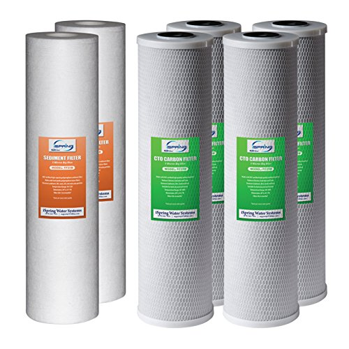 iSpring F6WGB32B Replacement Filter Pack for 3-Stage 20 inch Whole House Water Filter, 1-Year Supply, Fits -