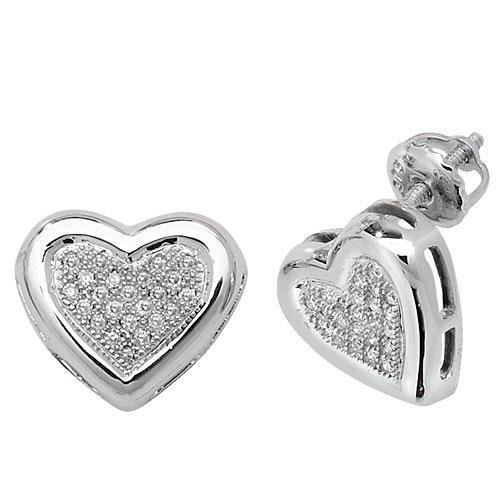 Diamant Coeur Boucles d'oreilles clous Femme-Or blanc 9Ct méprendre Blanc SI2-I10,13ct