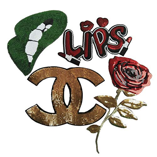 - 4 Pcs Embroidered Large Green Sequins Lip/Golden Red Rose/Letter Patches Sewing Patches Emblem Decals