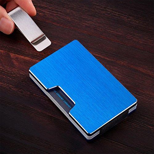 Alluminio Fermasoldi Dlife blu Di Carte Smart Credito Nero Portafoglio Rfid Wallet Uomo Porta qWvRW0