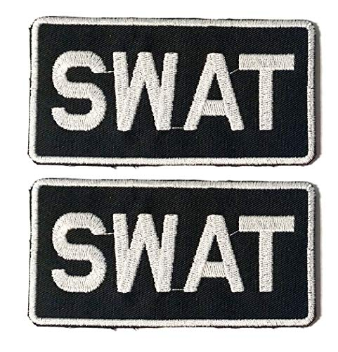 - SWAT - Novelty Duty - Iron-on 2x4 Embroidered Patch Two Pack Combo, White Thread