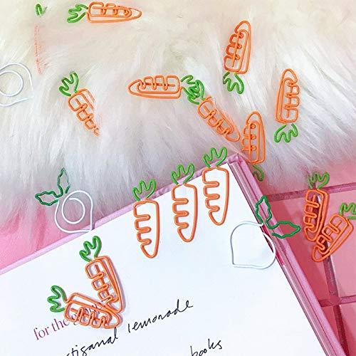 SODIAL 10 Pcs/t Kawaii Metal Vegetable Carrot Radish Clips Fruit Notes Folder Message Photo Paper Clip Stationery Memo Clips