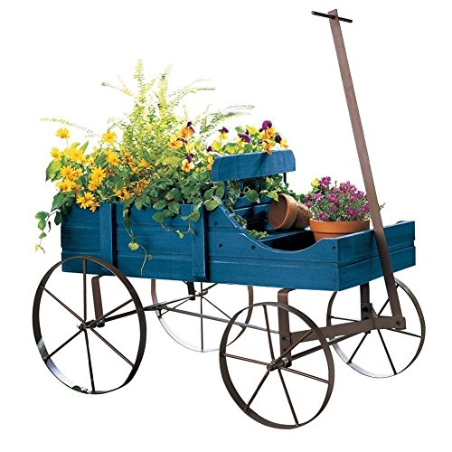 Wood Wagon Decorative Wheel Planter Garden Flower Plant for sale  Delivered anywhere in USA
