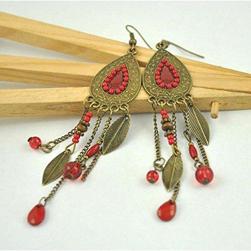 Vanvler Bohemian Style Water Drop Earrings Inlaid Beads Fringed Leaf Earrings Female (red)