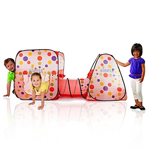 Double Pop Up Play Room Tent Club House with Interconnecting Tunnel and Fun Colors for Indoors and Outdoor by Dimple