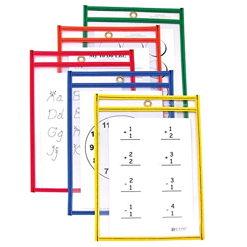 C-Line Reusable Dry Erase Pockets, 6 x 9 Inches, Assorted Primary Colors, 10 Pockets per Pack (41610)