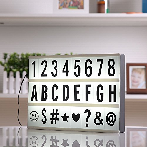 Price comparison product image WALLER PAA A4 Size Cinematic Light Box Cinema LED Letter Lamp Party Wedding Home Decor Gift