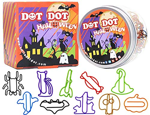 (Halloween Decorations Paper Clips 10 Assorted Colors, DOT DOT Holiday Shaped Office Paper Clips 80pcs + Gift Box(Design 2018), Halloween Gift Supplies for Office, School, Home, Heavy Duty)