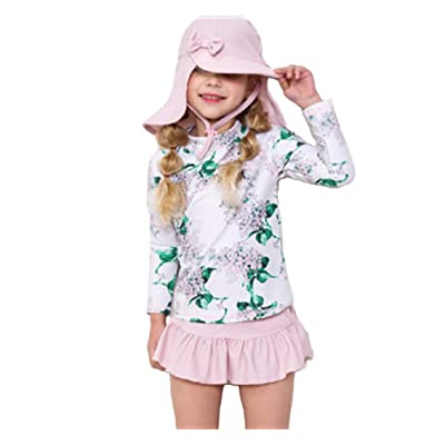 Tingping Little Girls Long Sleeve Rash Guard Swimsuit UPF 50+with Hat: Clothing