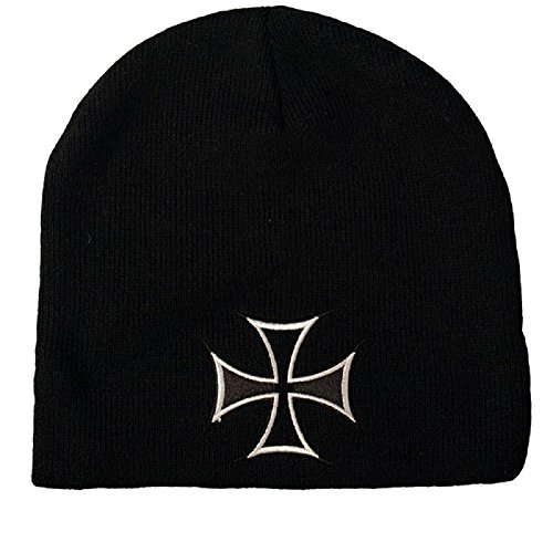 Embroidered Biker Black White Choppers Maltese Iron Cross Beanie Stocking Cap Hat (Maltese Chopper)