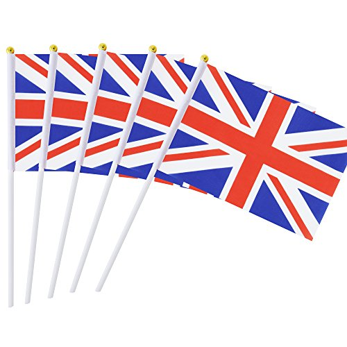 - 50 Pack Hand Held British Flag United Kingdom UK Flag Stick Flag Round Top National Country Flags, Party Decorations Supplies For Parades,World Cup,Sports Events,International Festival (8.2