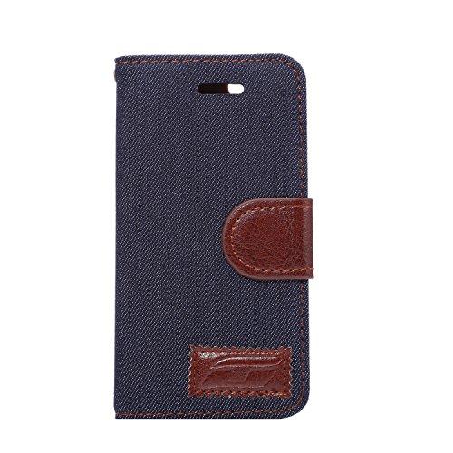 Voguecase® für iPhone SE hülle , Kunstleder Tasche PU Schutzhülle Tasche Leder Brieftasche Hülle Case Cover (Denim/Schwarz) + Gratis Universal Eingabestift