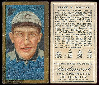 1911 t205 tobacco (baseball) Card# 170 frank m schulte of the Chicago Cubs Fair Condition