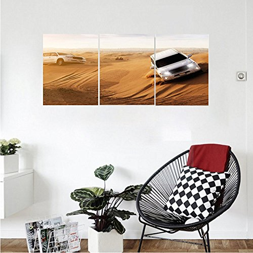 Race Smock - Liguo88 Custom canvas Sports Decor Race in African Desert Safari Adventure Exotic Hobby Activity Picture Wall Hanging for Bedroom Living Room Sand Brown White