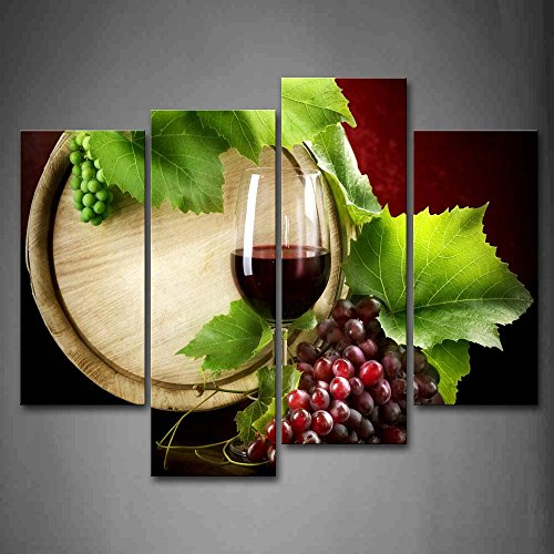 First Wall Art - Wine And Grapes With Wine Barrel Wall Art Painting The Picture Print On Canvas Food