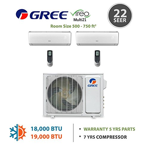 Gree MULTI18BVIR201 - 18,000 BTU Multi21 Dual-Zone Wall Mounted Mini Split Air Conditioner with Heat Pump 220V (9-12)