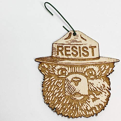 Smokey the Bear RESIST Christmas Ornament | Alt US National Park Service Rear View Mirror Hanging | Resist Fascism Activism ()