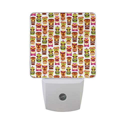 Colorful Plug in Night,60S Retro Inspired Cute Hawaiian Party Happy Tiki Statues Pattern Colorful,Auto Sensor LED Dusk to Dawn Night Light Plug in Indoor for Childs Adults