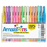 AmazaPens Coloring Gel Pens for Adult Coloring Books, 16 Pastel Colors, 150% More Ink for Arts, Crafts & Writing Best Value Professional Quality Colored Pens