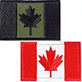 SET OF 2 (two colors) Canada Flag Embroidered Patch Canadian Maple Leaf On Sew On National Emblem (Olive Drab and red)