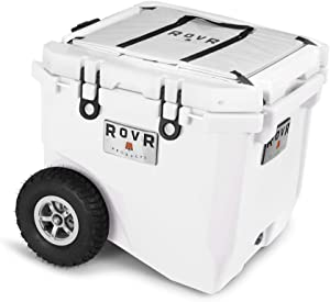 RovR Wheeled Camping Rolling Cooler with Wheels 45 qt (White Powder)