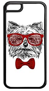 4 Hipster Puppy-Shades and Red Bow Tie- Case for the APPLE iphone 5 5s ONLY!!! NOT COMPATIBLE WITH THE iphone 5 5s !!!-Hard Black Plastic Outer Case with Tough Black Rubber Lining