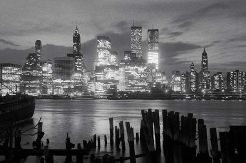 Manhattan Skyline at Night-New York City in Black and White, Photography Poster Print