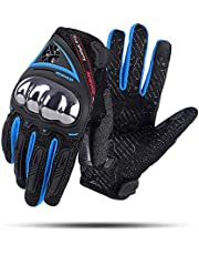 Scoyco Men's Knuckle Portable Motorcycle Gloves Comfortable Extreme Outdoor Sports Guard Breathable Cycling BMX Racing Riding Gloves for Motocross ATV Bike