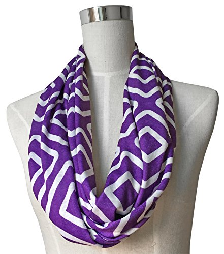 Womens Square Inside of Square Pattern Scarf w/ Zipper Pocket - Pop Fashion (Purple)