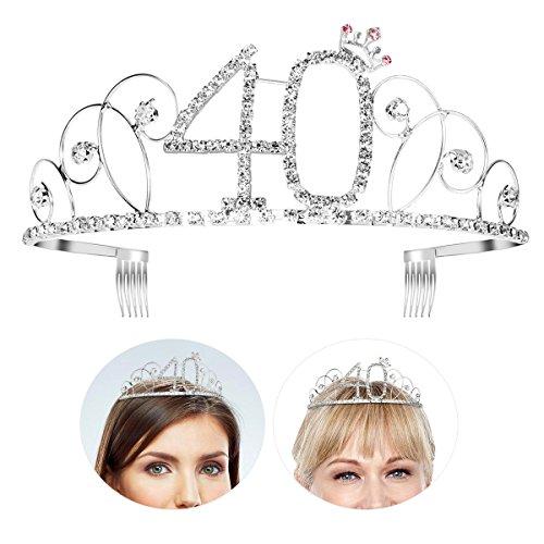 (Frcolor Happy Birthday 40th Silver Crystal Tiara Crown)