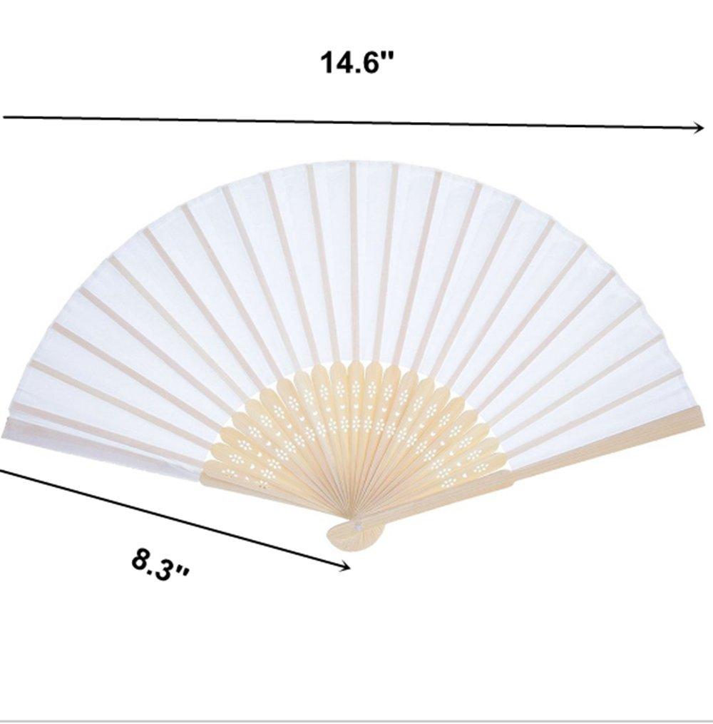 Amazon.com: Good news 10pcs Folding Fan White Silk fan Bamboo ...