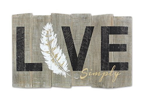 "Young's Love Simply Feather Wooden Wall Art Sign, 19"" x 0.75"" x 11.25"""