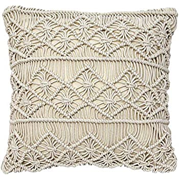 Decorative Pillows Macrame Boho Throw Pillows Handmade Knit Pillowcases Floor Cushion 15.7in x15.7in