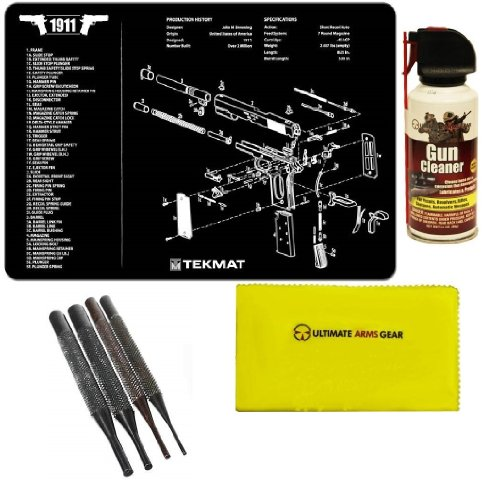 Ultimate Arms Gear Gunsmith & Armorer's Cleaning Work Tool Bench Gun Mat For 1911 Pistol Handgun + Pro Gun Cleaner Lubricant Protector Jet Action Spray Field Can Cleans Loose Dirt, Rust & Corrosion Parts + Gun Care and Reel Silicone Lubricated Cloth 12
