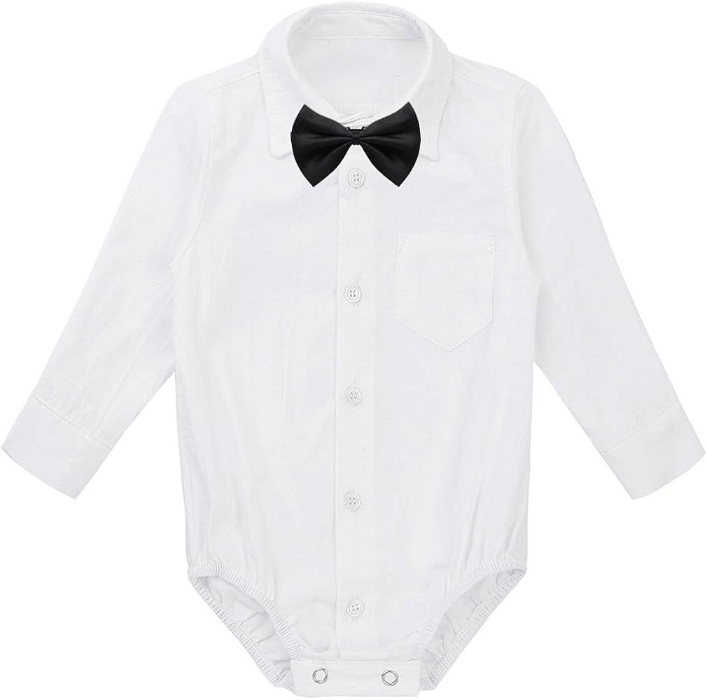 TiaoBug Baby Hemd-Body Langarm mit Kragen Strampler Baby-Jungen Hemd festlich Bodysuit Anzug Hemd f/ür Hochzeit Taufe Geburtstag Geschenk Sommer Kleidung