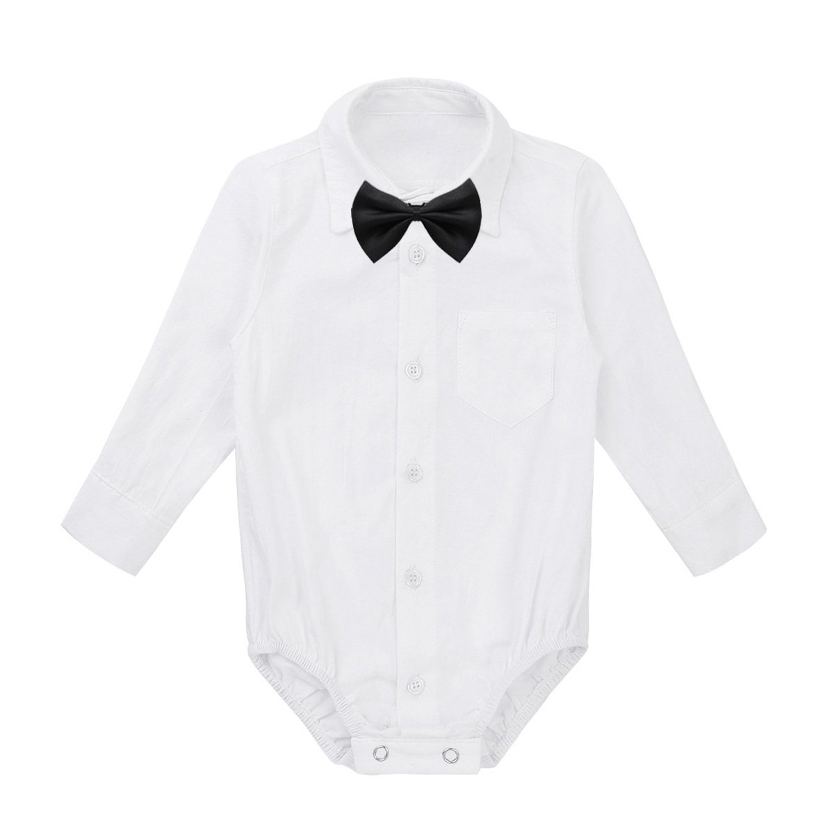 MSemis Baby Boys' White Formal Dress Shirts Gentleman Romper Bodysuit Wedding Party Outfits
