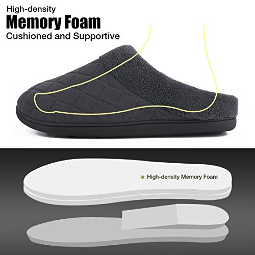 House Indoor Quilted Shoes House Gray Men's Outdoor Slippers Use for Memory Summer Foam Dark XzwWaaqYZT