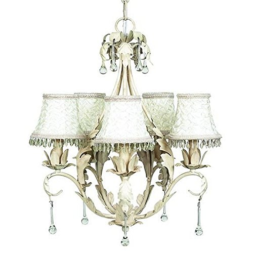 Jubilee Collection 7703-2317 5 Arm Caesar Chandelier Shade with Smock and Dangle, Antique Ivory Jubilee Lighting 5 Arm