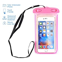 "Universal Waterproof Case, NOKEA Dry Bag for Apple iPhone 7, 6S, 6, 6S Plus, SE 5S 5C, Samsung Galaxy S7 Edge, S7, S6, S5, S4, Note 5 4, HTC LG G5, G4, Sony Nokia Motorola up to 6.0"" diagonal (Pink)"