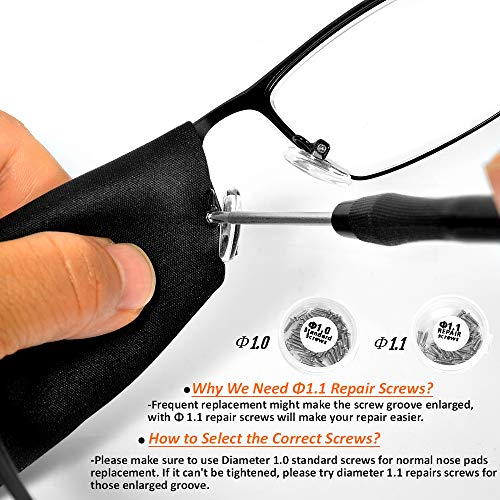 Eyeglass Nose Pads, TEKPREM Eyeglasses Repair Kit with 5 Pairs of Air Chamber Silicone Nose Pads,Screws,Screwdrivers,Curved Tweezer and Cleaning Cloth for Glasses and Sunglasses Nose Pad Replacement