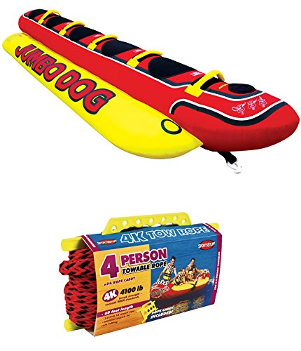 AIRHEAD HD-5 Jumbo Hot Dog 5-Person Rider Inflatable Towable Tube w/ Tow (Kwik Tek Double Dog)