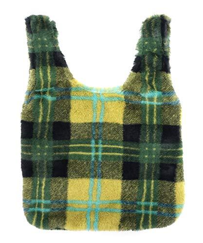 b07c414c9b1e Amazon   バッグ チェック柄ファーバッグ レディース ミニマムバッグ 巾着バッグ フェイクファー ミニバッグ DONOBAN  SELECT グリーンイエロー   ハンドバッグ