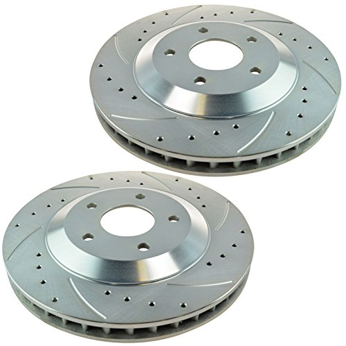 - Performance Brake Rotor Drilled Slotted Coated Front Pair for Corvette