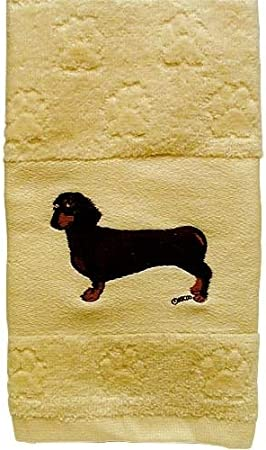 EMBROIDERED HAND TOWEL IVORY DACHSHUND DESIGN