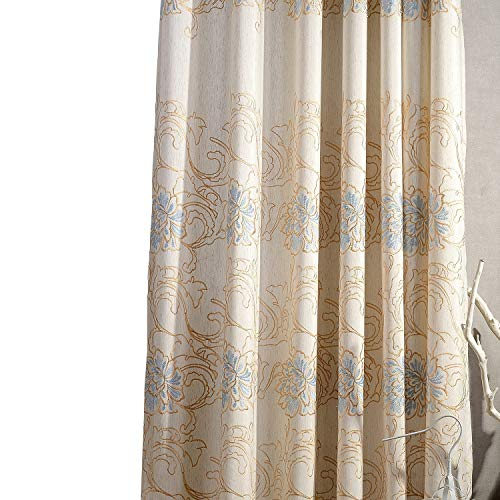 VOGOL European Vintage Floral Embroidered Curtains Beige Elegant Faux Linen Curtain for Living Room 52x96 Inch, 2 Panels, Top Grommet, Peony (Vintage Embroidered Linen)