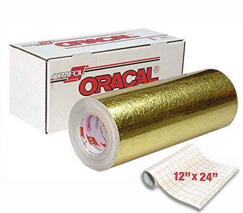 "Price comparison product image ORACAL 383 Ultraleaf Holographic Gold Gloss Cast Adhesive Vinyl 12"" x 24"" Roll for Silhouette,  Cameo & Cricut Including 12"" x 24"" VViViD Clear Transfer paper (1 Roll Pack)"