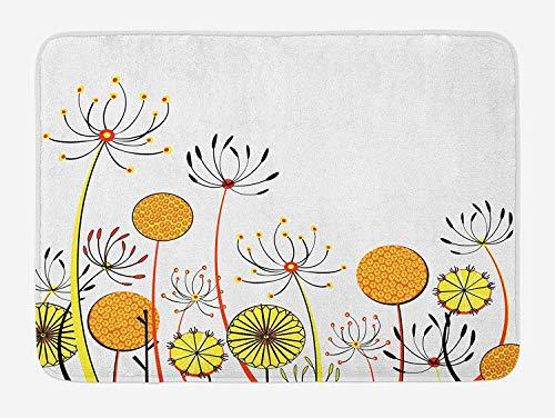 Floral Bath Mat, Umbelifers Flower Garden Summer Spring Season Themed Cute Petals Illustration, Plush Bathroom Decor Mat with Non Slip Backing, 23.6 W X 15.7 W Inches, Marigold Yellow